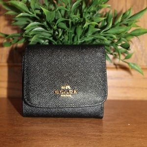 Coach Small Crossgrain Black Leather Wallet New